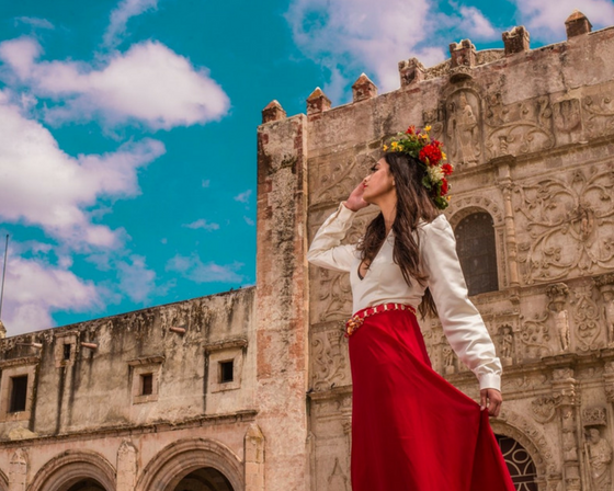 Fashion photography at a castle.