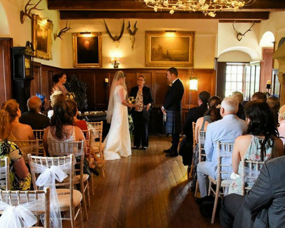A wedding in Barcaldine Castle.